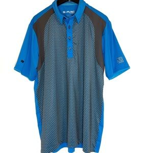 Kartell G Mac Polo Golf Shirt Large Blue and Gray
